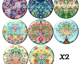 Set of 16 cabochons 25mm glass, flowers trees ref ZC255