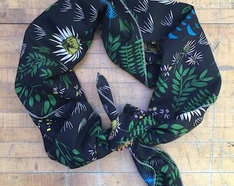 Black Floral Organic Cotton Voile Scarf, Square Voile Scarf, Cotton Voile Cowl