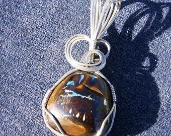 Boulder Opal Pendant - Australian Opal Pendant, Wire Wrapped Opal Pendant in Argentium Sterling Silver by JewelryArtistry - P560