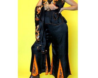 reserved. 1920s. RARE black and orange dragon Chinese embroiderey set wtih jacket palazzo pants and tank with heart pocket. size small-large
