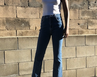 High waisted classic straight leg mid wash jeans