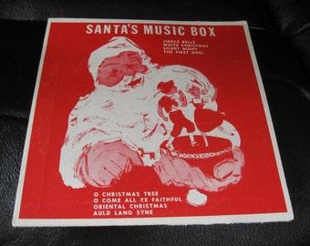 Record de boîte à musique de Noël Vintage, disque 33 1/3 de 1956 à Santa manche