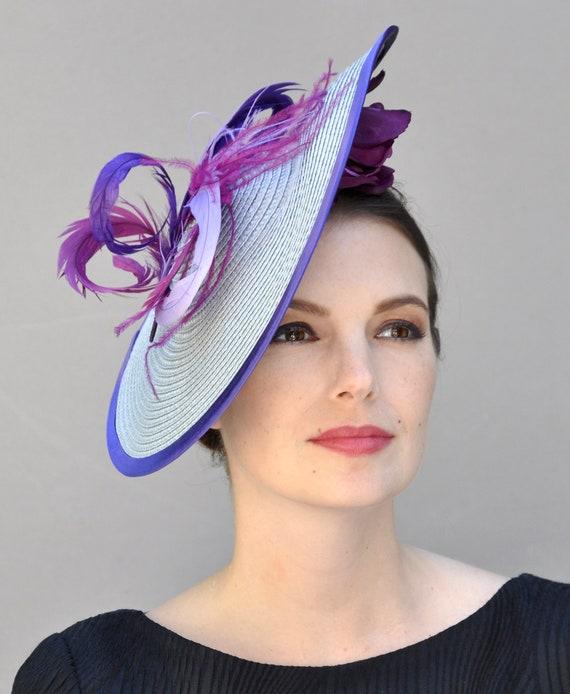 Derby Hat for Women, Wedding Hat, Derby Fascinator, Purple Fascinator, Saucer Hat