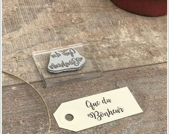 Pretty antique rubber stamp unmounted writing * happiness that * height 2 cm