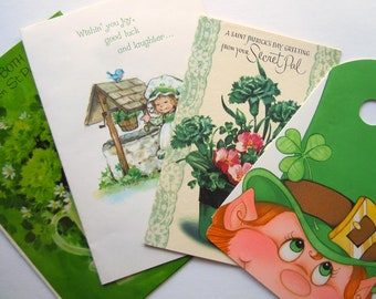 Vintage St Patrick's Day Leprechaun Four Leaf Clover Greeting Cards Lot