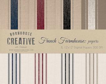 French Farmhouse Grain Sack Digital Blue, Red, Black, Beige Scrapbook Papers