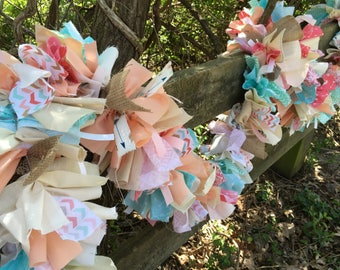 Fabric Garland for Birthdays, Showers & Weddings. Coral, Mint, Aqua 6-10 Foot Handmade Banner.  Eco-Friendly Decoration  Custom Colors Too