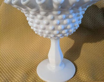 Fenton Milk Glass Pedastal Compote Dish, Candy Dish, Vintage Art Glass, White Milk Glass.