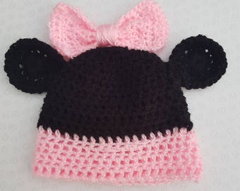 Handmade Minnie Mouse Crochet Baby Hat With Ears And Bow - Sizes Preemie Up To 18 Months