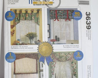 New, factory folded, McCalls 3639 Curtain pattern