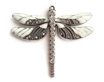 1 Pendant, Dragonfly, Jewelry Making Supply, Antique Silver Color with Crystal Rhinestones
