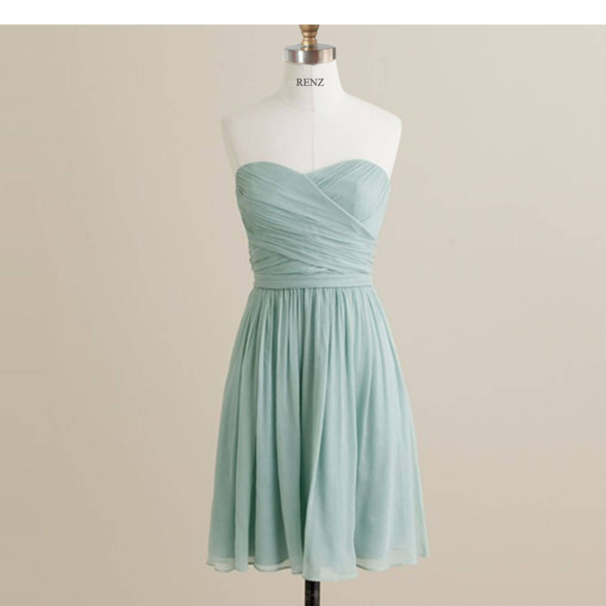 Bridesmaid Dress Dusty Mint Chiffon DressShort Strapless Prom