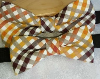 Brown Cream plaid bowtie, Autumn Plaid Bowtie, Father and son bowtie, Holiday  Bowties