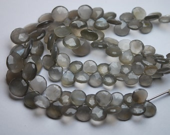7 Inch Strand,Finest Quality,Natural GREY MOONSTONE Faceted Heart Briolettes,8-11mm size