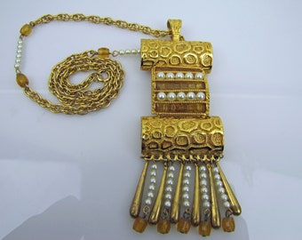 1970s Designer Lucien Piccard Gold & Pearl Pendant Necklace. Mayan Egyptian Revival Style Statement Necklace. Collectible Costume Jewelry.