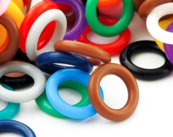 100 - 10mm OD Silicone Jump Rings - You Pick Color - Black, White, Brown, Pink, Purple, Blue, Green, Yellow, Orange, Red or Mix
