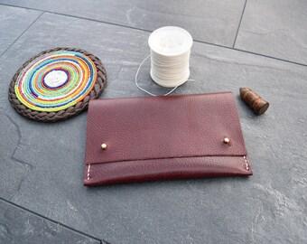 Soft leather personalised handmade purse (Duma) -Burgundy with brass stud closure