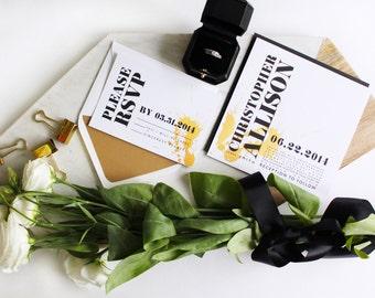 Modern Wedding Invitation suite // DIY PRINTABLE Elegant Wedding Invitations, Gold wedding invitation, Black and white wedding invitation