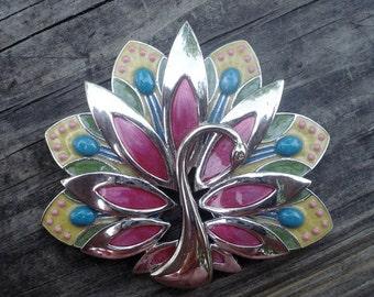 Swan Costume Jewelry Brooch Pin Enamel Decoration Silver Tone 1.7 ounces 01210