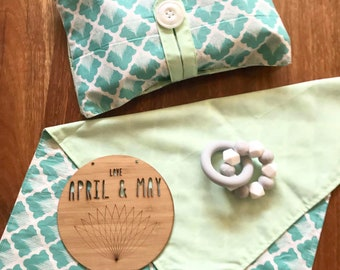 In stock- Nappy wallet & change mat set; diaper clutch, baby travel bag- gender neutral turquoise and mint print