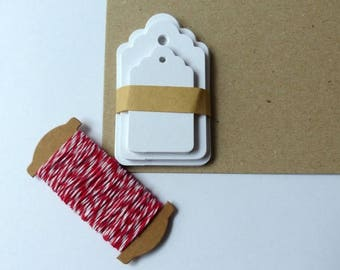 30 Gift pendant white with ribbon in set Kraft paper
