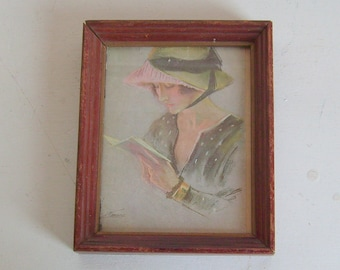 Vintage 1920s lady flapper art deco wood framed print shabby 1920s 1930s decor