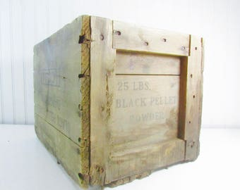Antique Ammo Box, wood Crate, wood box, vintage crate, wooden crate,pellets crate,  vintage wood box, powder crate,