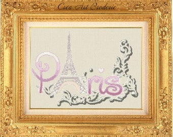 Counted cross stitch chart Paris Eiffel Tower and fresco