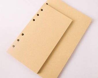 A5 A6 Planner Insert, Kraft inserts, blank refill, 40 sheets, a6 planner, refillable planner, Filofax inserts, use with Planner Binder