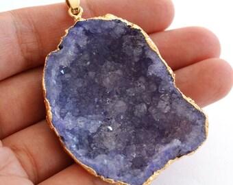 1pcs Natural Purple Druzy Agate KC Gold Plated Brass Big Pendants R275-G