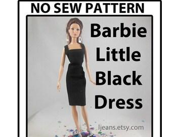 No Sew 11 in Barbie Doll Little Black Dress Pattern