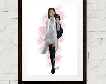 Fashion illustration - Fashion art print - Zendaya - Street style