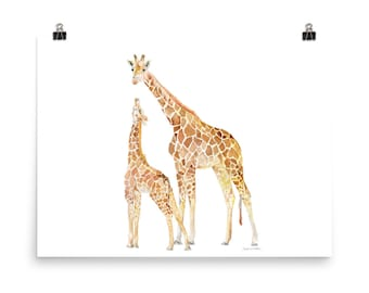 "Giraffes Watercolor Mother and Baby Large art Print 24""w x 18""h Nursery Art"