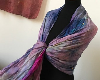 Prophetic - Silk Scarf - Gifts for Women - Dyed Silk - Christian Gifts - XL Crinkle Silk called Praise Me Seek Me Walk in Love