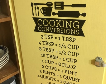 Cooking Conversions Vinyl Wall Decal Measurments