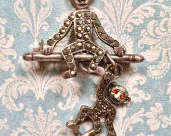 REDUCED!!  Vintage Sterling Silver with Marcasites 2 Monkeys 1 Dangling Pin Brooch