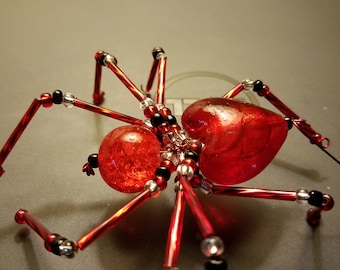 Red Glass Heart Beaded Valentine Spider Ornament