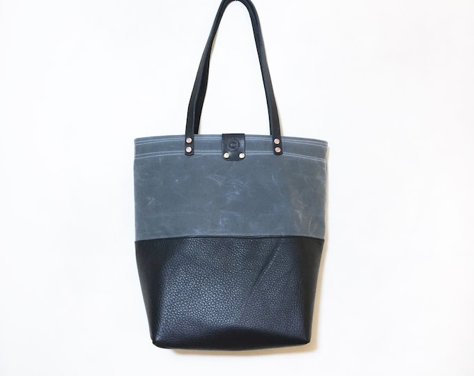 Chloe - Black Leather & Waxed Canvas Tote