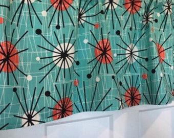 Superbe Mid Century Atomic Retro Aqua Black Kitchen Curtain Valance