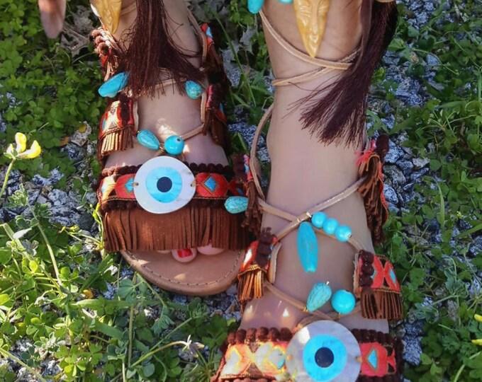 """DHL Free Greek handmade sandals """"GOOD LUCK """" sandals,fringes ,tassels,boho sandals,ethnic,women's sandals ,leather sandals,evil eyes,pompom"""