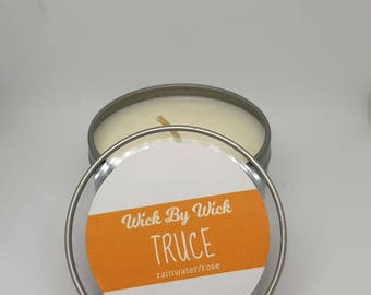 Truce Rainwater Rose Scented Soy Candle