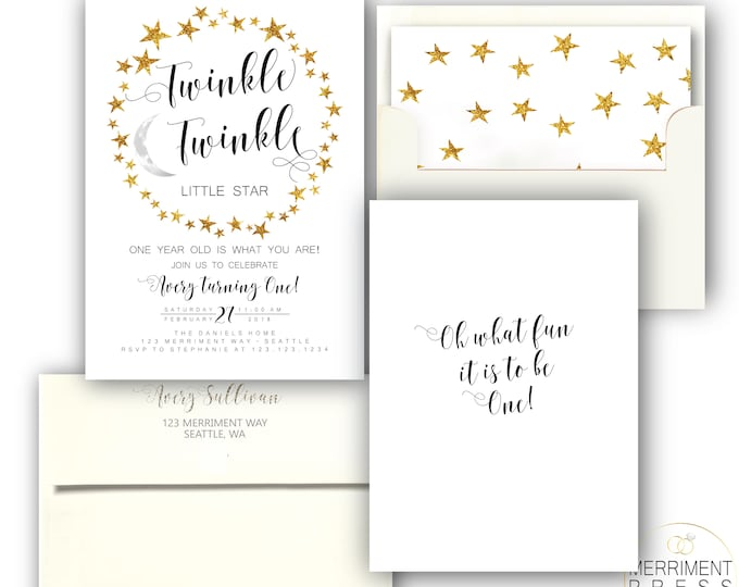 Modern Twinkle Twinkle First Birthday Invitation One Black and White and Gold Stars Boy or Girl Minimalist Elegant SEATTLE COLLECTION