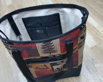 MOOSE TOTE BAG,Zipper Closure,Shoulder Strap,Country Fabric,Vermont Mad,Wookland,Rustic,Bear,Tote(Styling Tote Med)