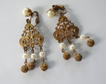 Etruscan Revival Brass Faux Pearl Earrings