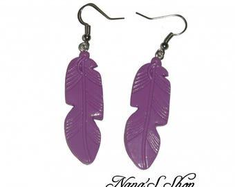 Earrings feather, purple Fimo,