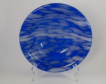 Handmade Beautiful Blue and White Fused Glass Bowl