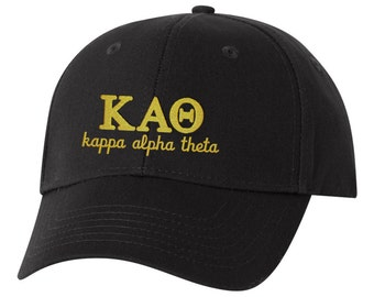 Kappa Alpha Theta hat, sorority hat, Theta hat, Kappa Alpha Theta Baseball cap, baseball hat, little, big, little, sorority hat, embroidered