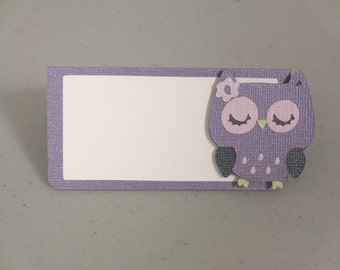 Owl Food Buffet Tents / Place Cards Purple Green  Birthday Party Shower Set of 6