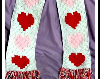 Hearts Scarf, C2C Graph, Crochet Pattern