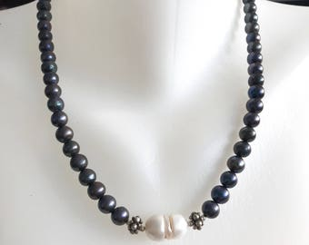 Black pearl necklace , Beaded necklace , Pearl necklace ,